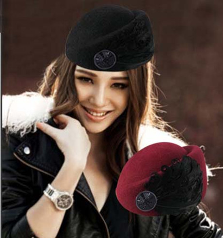 Evidenced iouhat woolen feather hat female small fedoras black autumn and winter beret jazz hat(China (Mainland))