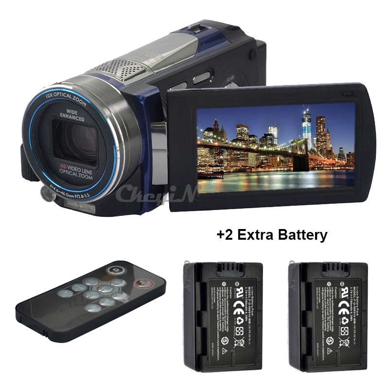 2pcs Batteries + Remote Control 3.0'' Touch Screen Full HD Digital Video Camera 1080P 100X Super Zoom Camcorder IR Night Vision(China (Mainland))