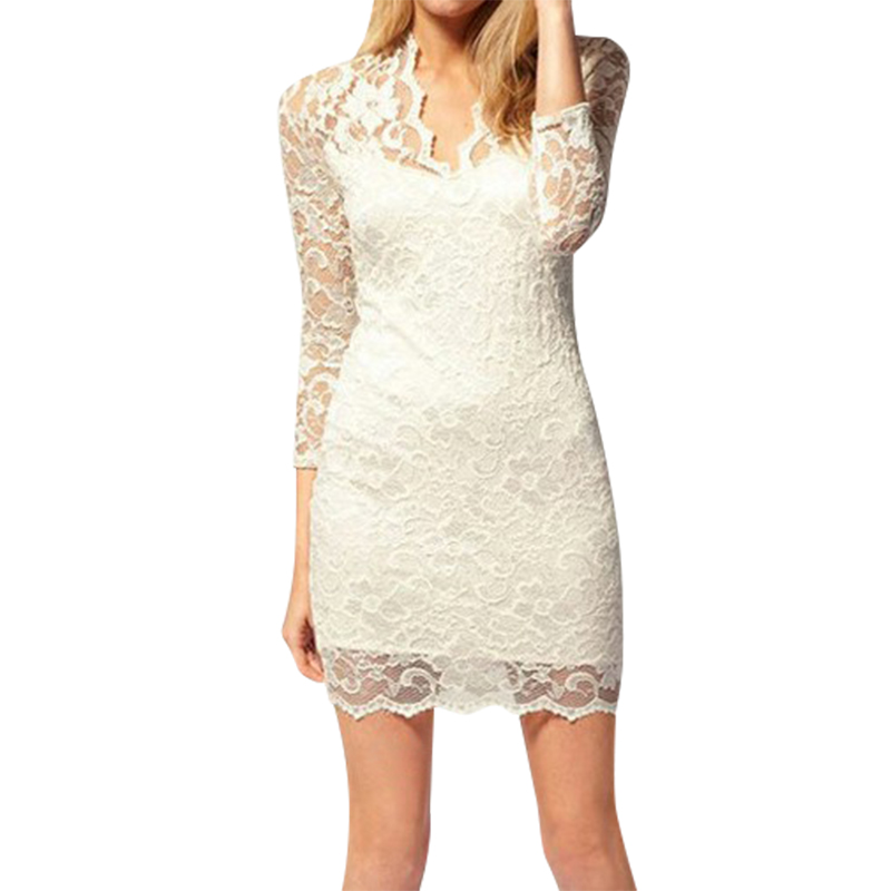 Sexy Lace Dress 2016Hot Summer Three Quarter Sleeve V Neck Women Sexy Dresses Women Dresses Vestidos(China (Mainland))