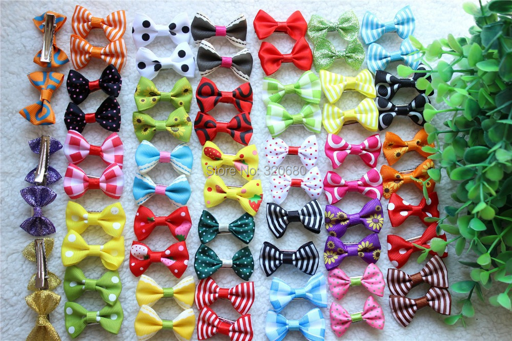 100pcs/lot 50 pairs Mix Style Bowknot Varied Colors Handmade dog bows pet hair Clips dog hair accessories pet grooming product(China (Mainland))