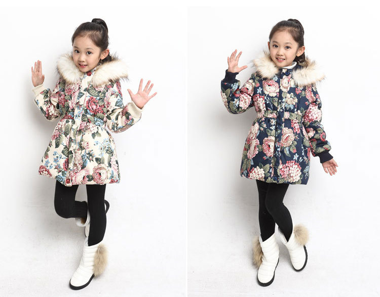 Пуховик для девочек Girl winter coat 2 14 Hoodied Casaco Parka for girls