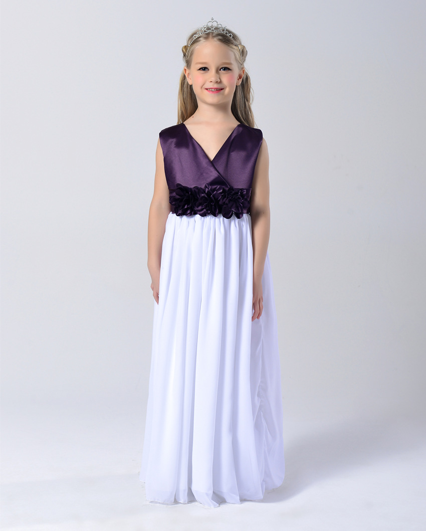 High-quality Kids Girls Flower Wedding Dress Children's Princess Party Performances V-neck Dresses For Spring And Winter 2-12Y(China (Mainland))