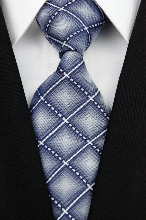 NT0152 Gray White Plaid Smooth Man s Wedding Business Luxury Tie Jacquard Woven Classic Silk Polyester