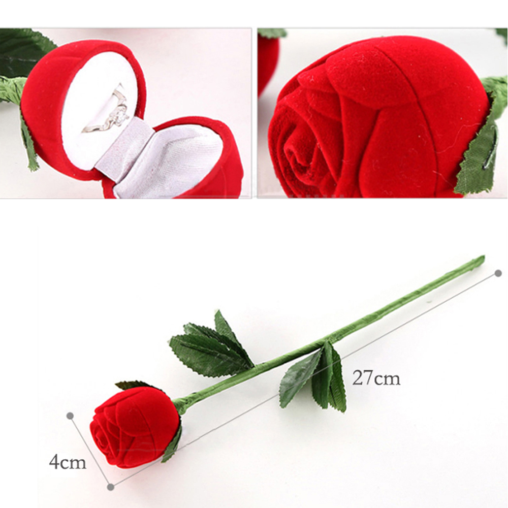Fashional Romantic Red Rose Engagement Wedding Ring Earrings Jewelry Gift Box Case V3NF(China (Mainland))