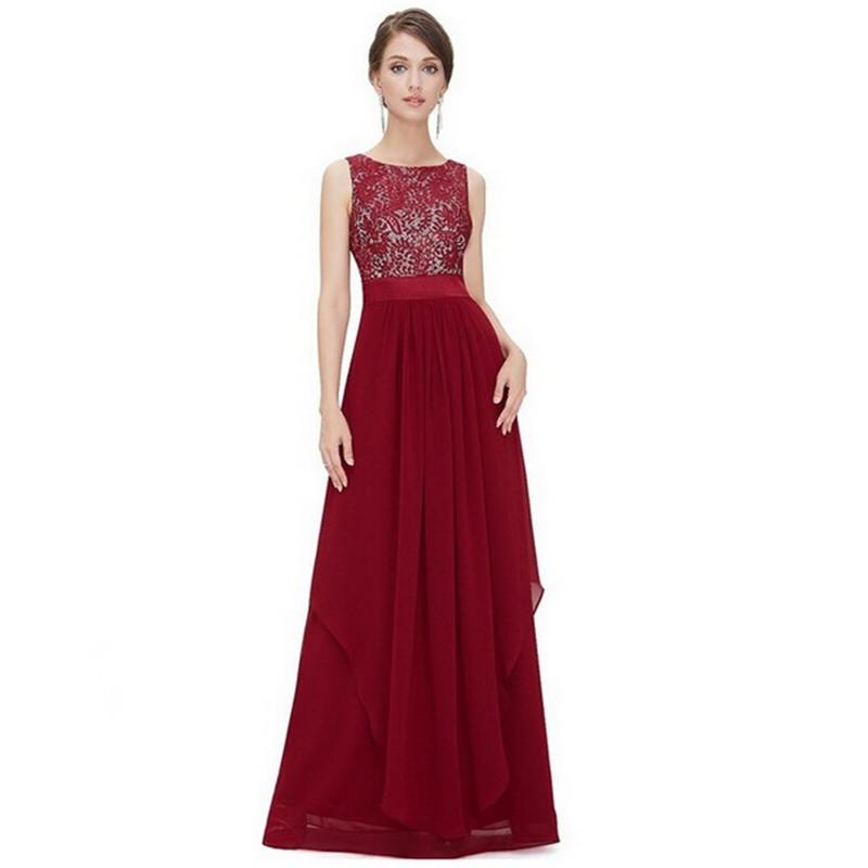 new sexy women ladies lace Chiffon sleeveless party dress Slim wine red(China (Mainland))
