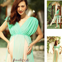 Silver Green Gown Two Layer Gauze Studio Maternity Photography Props Pregnant Women Long Dress Photo Shoot Fancy costume