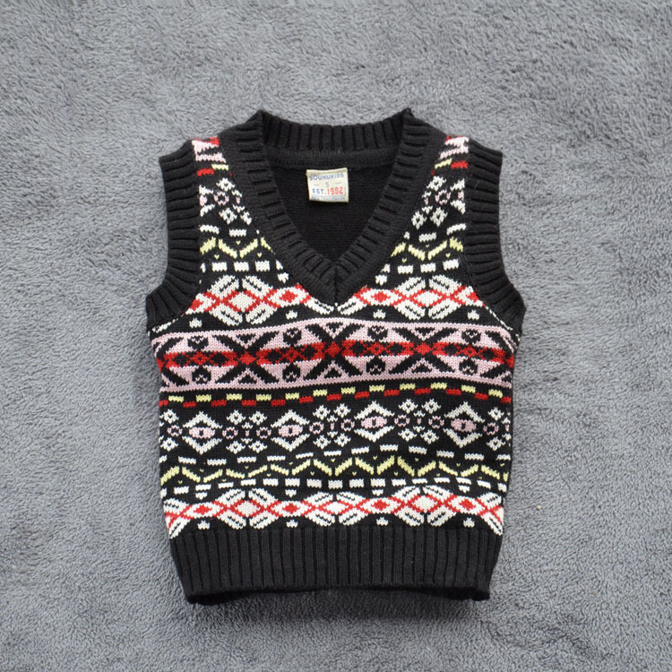 2015 brand Next* clothing kids knitwear boys sweater computer black geometric fashion V-neck vest sweater 2-8T inverno cardigans(China (Mainland))