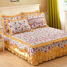 bed sheet set with two pillowcase,bedding set super king,Cotton padded Lace Bed skirt,mattress cover,quilted Bedspread, &45(China (Mainland))