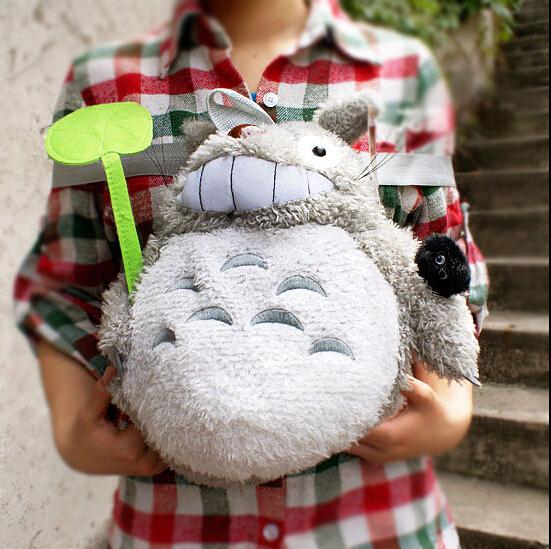 "12"" Totoro Plush Backpack Bags Children School bag Stuffed Plush Bag Free Shipping 40pcs/lot"