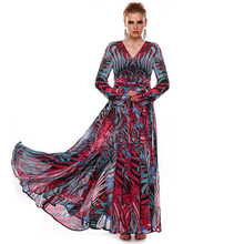 Women's Bohemian Print Chiffon Maxi Dress Summer V-Neck A-Line Lantern Sleeve Long Dresses Elegant Lady Autumn Dress Vestidos(China (Mainland))