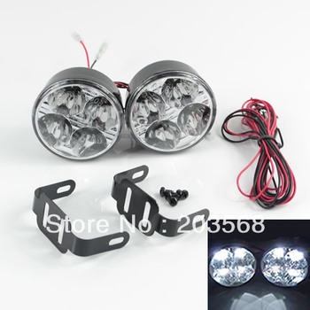 D19+2x Auto Car 4 LED Round DRL Daytime Running Day Driving Bulb Fog Light Lamp 12V 5W Free Shipping