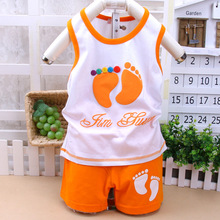 2016 Summer Brand Kids Baby boys girls cotton clothes clothing sleeveless gentleman clothing 6M--3T children t shirt + shorts(China (Mainland))