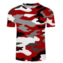 Rosso Grigio verde Abbigliamento mimetico 3d Stampato Tshirt Donne Degli Uomini Manica Corta T-Shirt di Marca Top T shirt Divertente Magliette Asiatico formato 6xl(China)