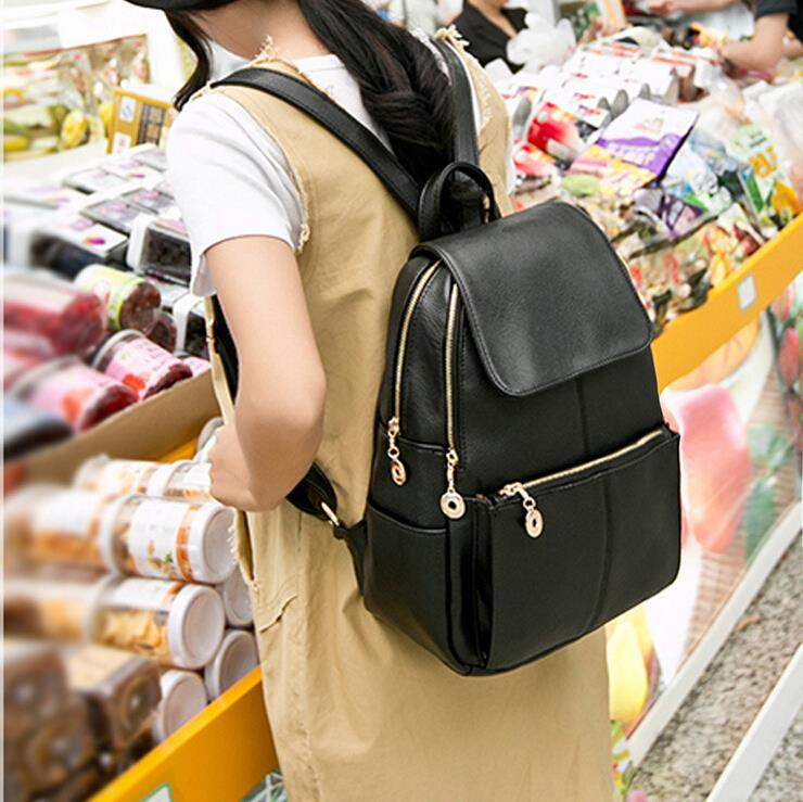 Free Shipping 2015 Fashion women's backpacks designer brand printing backpacking backpacks women can desigual leather black bag(China (Mainland))