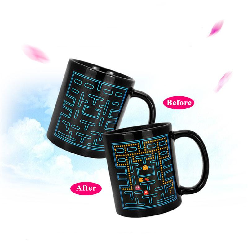Creative 400ml Ceramic Magic Eat Beans Pattern Hot Cold Heat Sensitive Color Changing Mug Coffee Milk Tea Cup Mug #82457(China (Mainland))