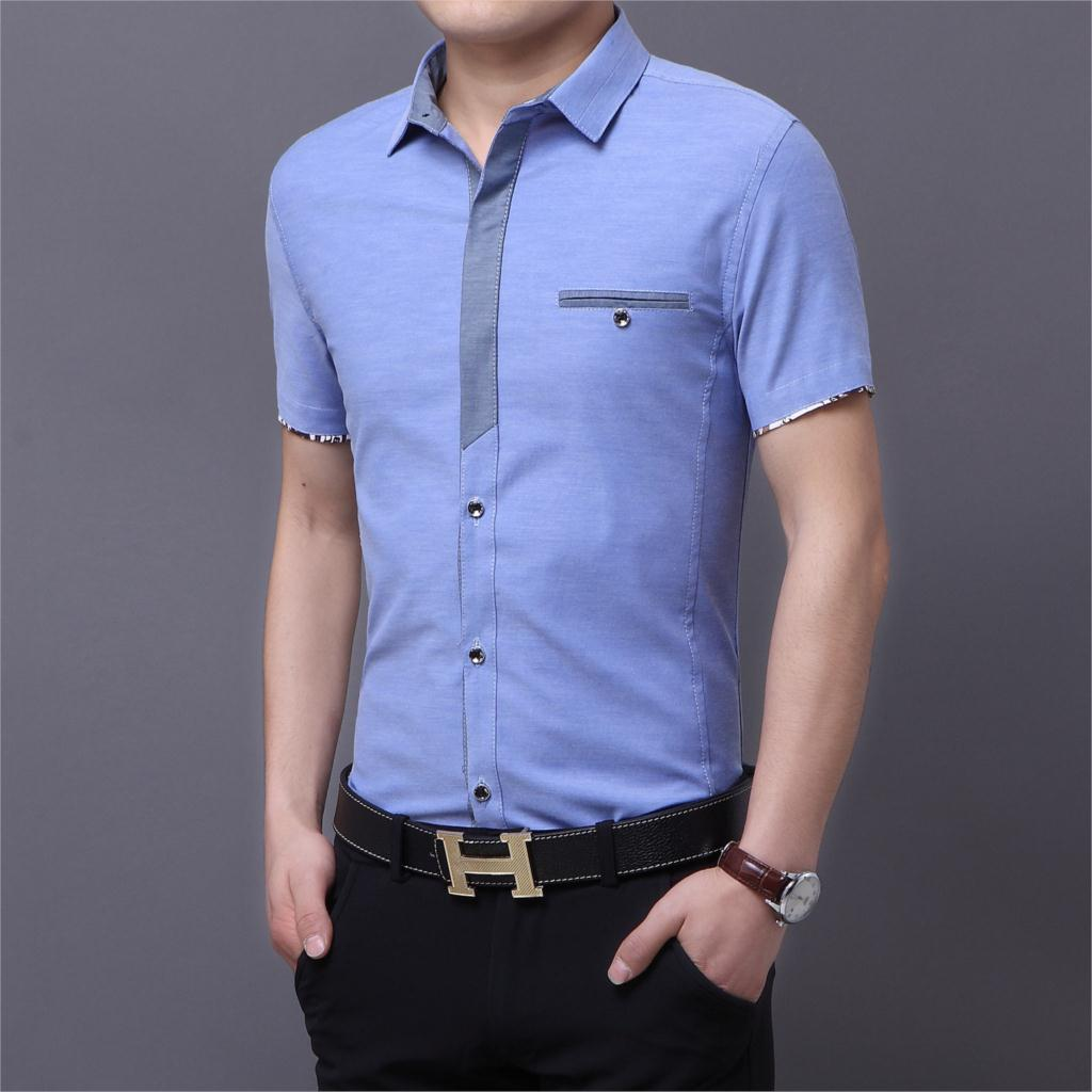 Mens short sleeve dress shirts denim 2015 new social for Mens slim fit short sleeve shirt