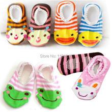 Livraison gratuite bande dessinée de mode bébé bébé enfant bébé Anti - Slip chaussettes chaussures Slipper souple semelle FZ1410 2pR9(China (Mainland))
