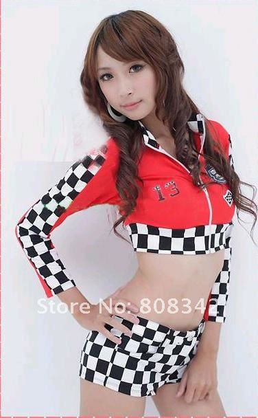 Free Shipping Red Color Race Queen Sexy Costume sets Zip Front Car-Racing Girl Cosplay Uniform Party Costume 8026(China (Mainland))