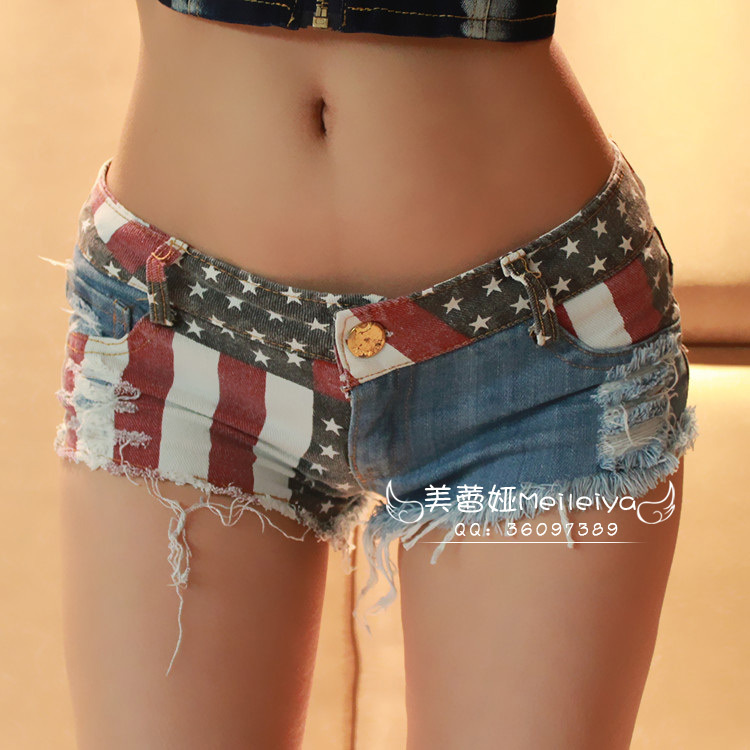 New 2016 Women American flag Shorts Sexy Short Jeans Cut Off Low Waist Denim Hole worn Jeans Shorts Trousers Mini Shorts(China (Mainland))