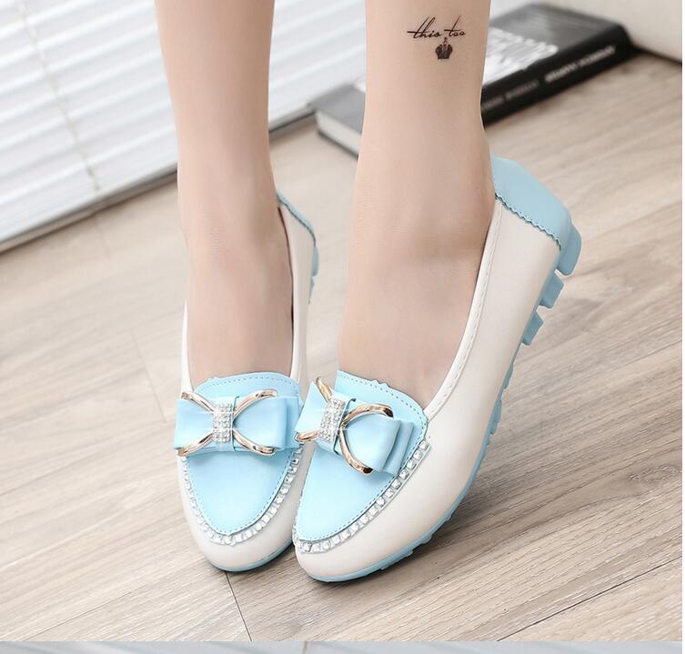 New Style Women Fashion Round Toe Mixed Colors Bow Ties Cauasl Flats Ladies Fashion Rhinestone Decoration Office Flat Shoes(China (Mainland))