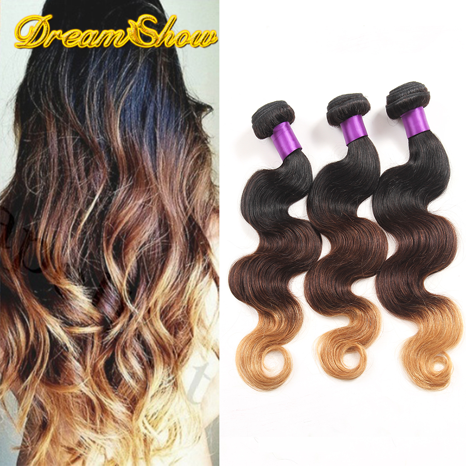 Malaysian 3 Tone Ombre Hair Extensions Cheap 7A Malaysian Virgin Hair Body Wave 3pcs Malaysian Human Hair Weave Bundles