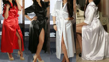 Details about Long Black Sexy SILK Kimono Dressing Gown Bath Robe Babydoll Lingerie Nightdress(China (Mainland))
