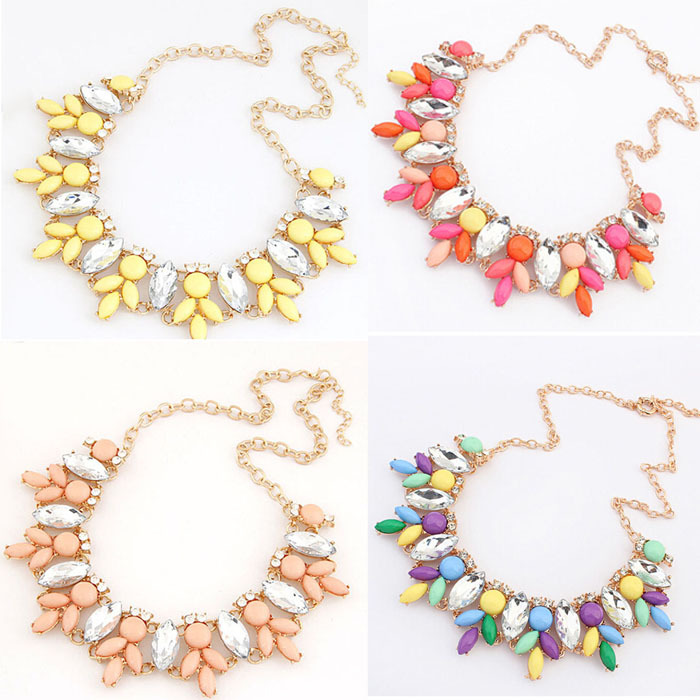 Selljimshop 2015 1PC Bohemia Women Crystal Resin Flower Bib Statement Necklace Jewelry