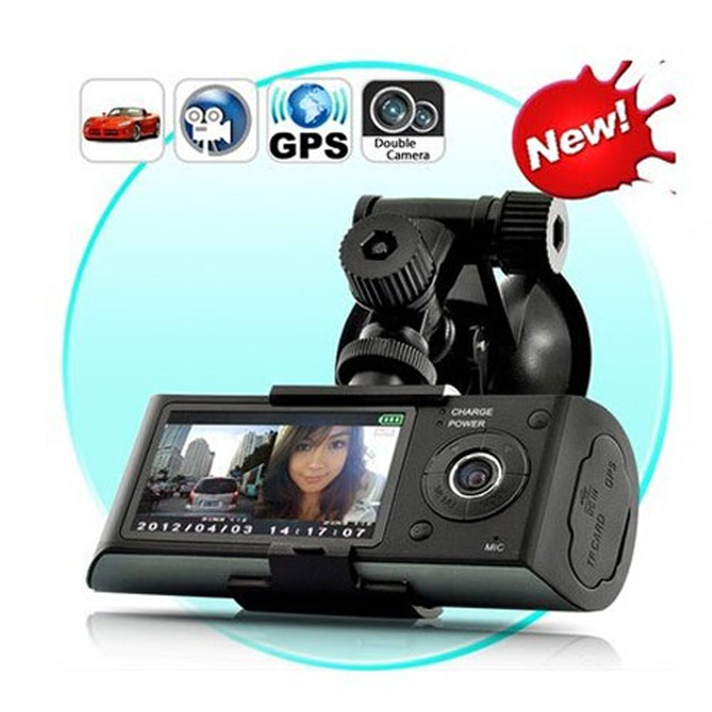 2.7'' Dual Car DVR Camera Car Recorder with GPS Logger G-sensor LCD Cam Video Camcorder Cycle Recording Digital Free Shipping(China (Mainland))