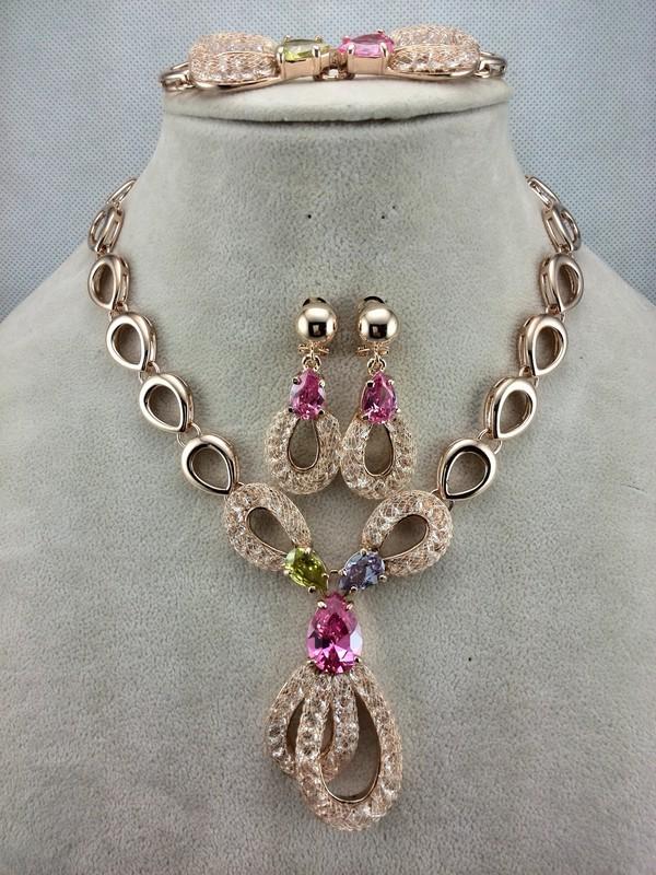 EEL Luxury Bowknot Wedding Jewelry Sets Women 18k Gold Plated Zircon Crystal  -  fashion jewelry store store