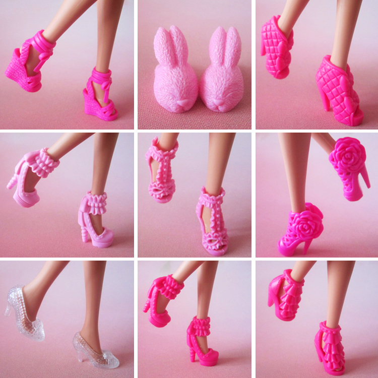 100 pair / lot New Fashion high quality Mix Style Mix Color High-heel Shoes for barbie Free shipping(China (Mainland))
