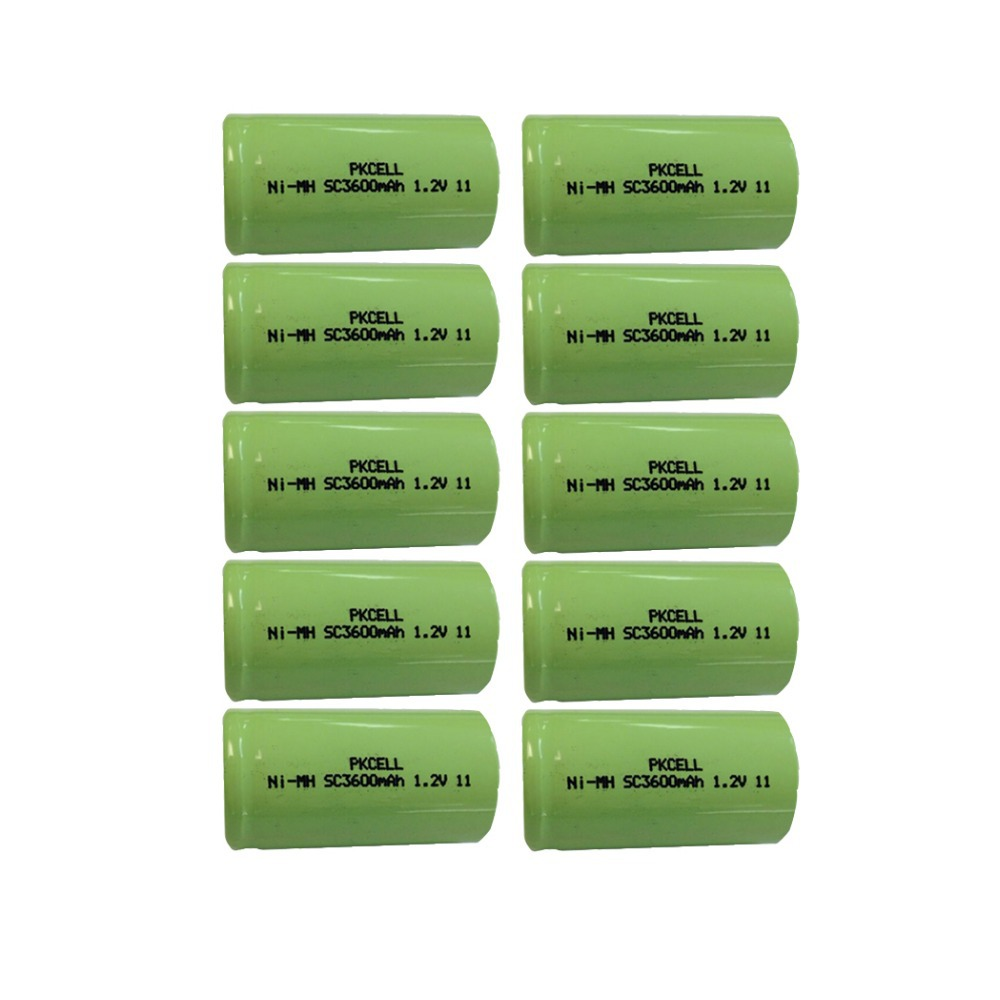 10Pcs 1.2v SC 3600mah rechargeable NIMH battery in flat top, non PCM, in industrial pvc packing(China (Mainland))