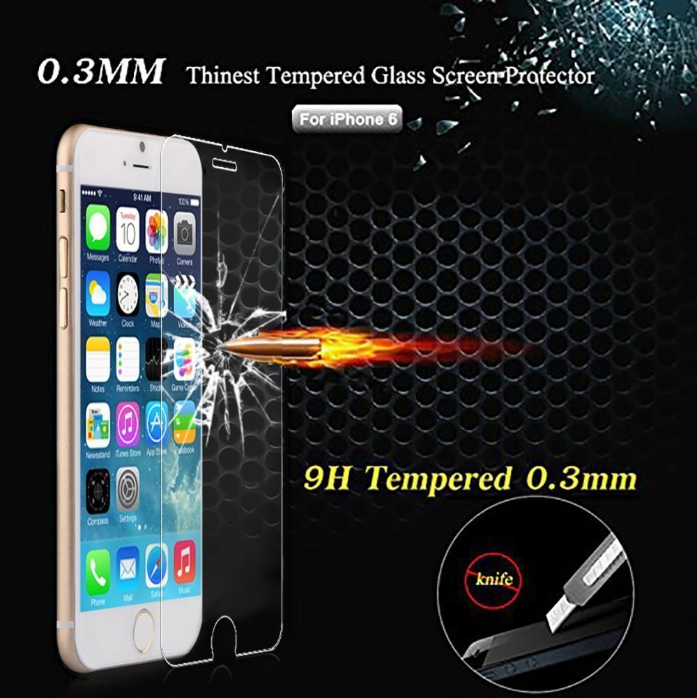 Top Quality 2014 New 0.3mm HD Ultrathin Premium Tempered Glass Protective Film For iphone 6 screen protector 4.7 Free Shipping(China (Mainland))