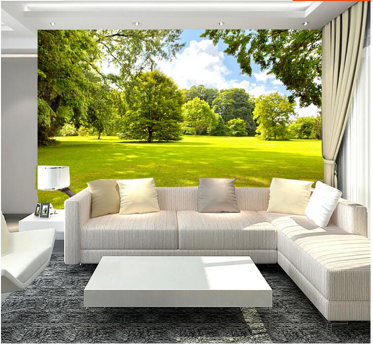 Custom landscape wallpaper sunshine tree 3d wallpaper for Waterproof wallpaper for bedrooms