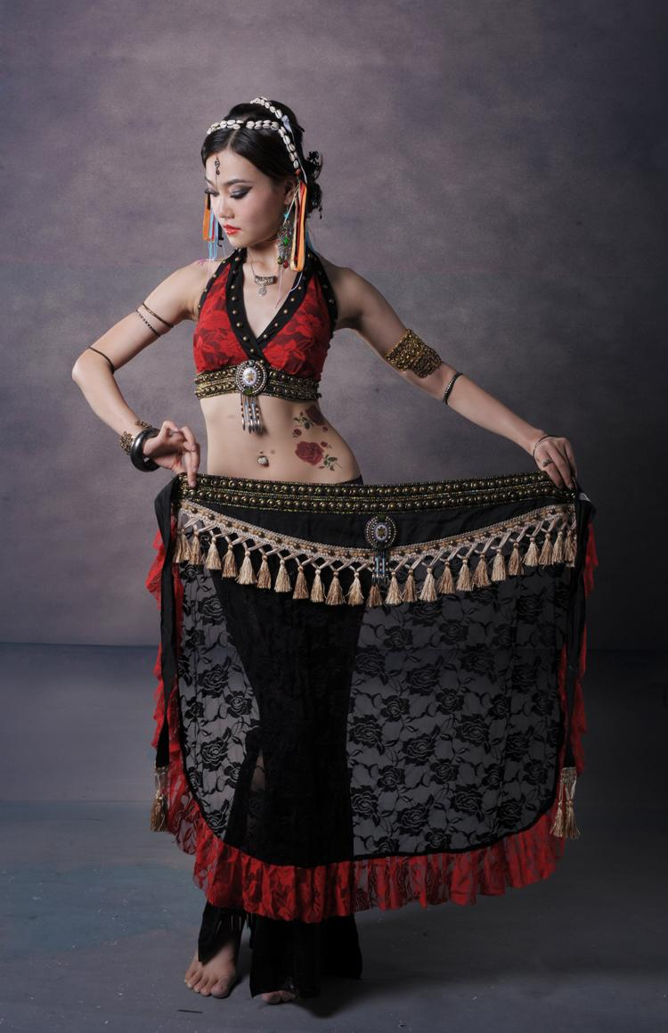 Tribal Belly Dance Costume 2 Pics Lace Bra Blouse&Hip Scarf Belt Skirt 2 Colors(China (Mainland))