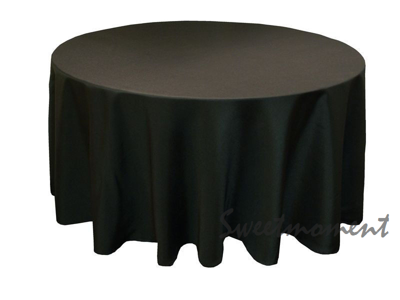 30 Black 100% Polyester Table cover in 108'' Diameter Round(China (Mainland))
