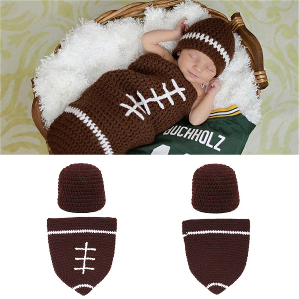 Crochet Knitted Infant BABY Football Hat and Cocoon Set Newborn BABY Crochet Photography Props Outfits MZS-14095-J(China (Mainland))