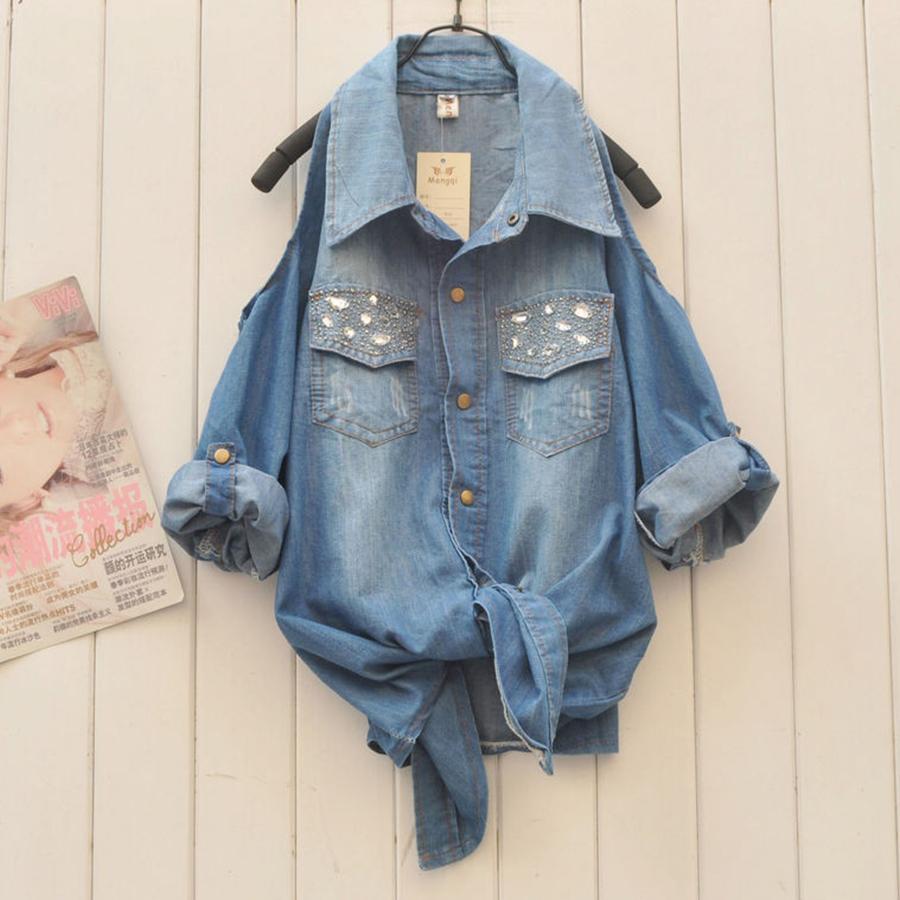 Buy plus size women denim off shoulder for Buy denim shirts online