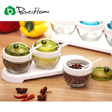 Butihome 3pc/set Pot Seasoning Box Groups Glass Condiment Box Cover For Jars Salt Flavor Storage Seasoning Kitchen Accessories(China (Mainland))