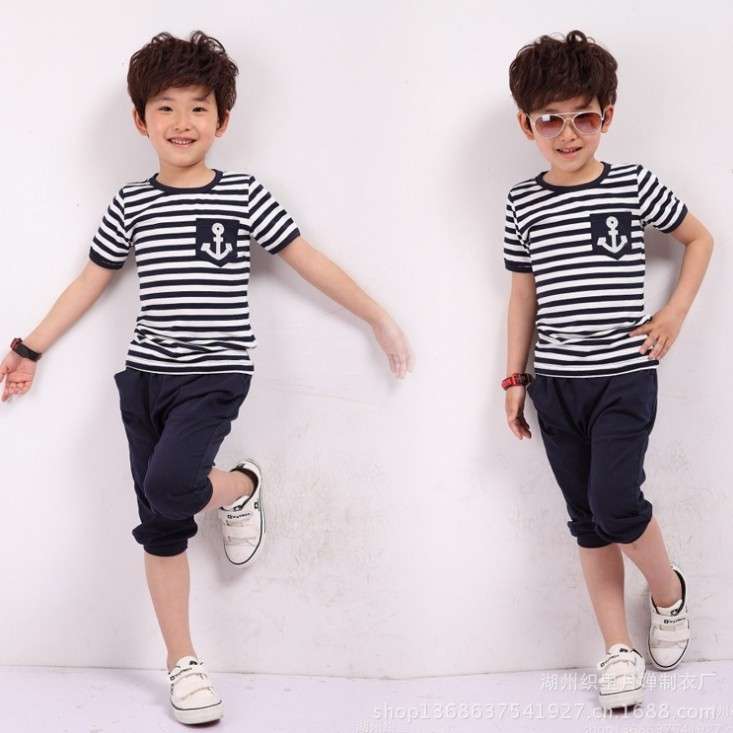 summer navy style boys clothing baby short-sleeve T-shirt capris pants set children kids suit, clothes - Online Store 923589 store