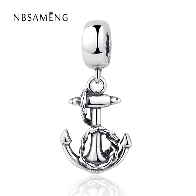 Authentic 925 Sterling Silver Charms Antique Boat Anchor Pendant DIY Beads Fit Women Pandora Bracelets & Bangles DIY Jewelry(China (Mainland))