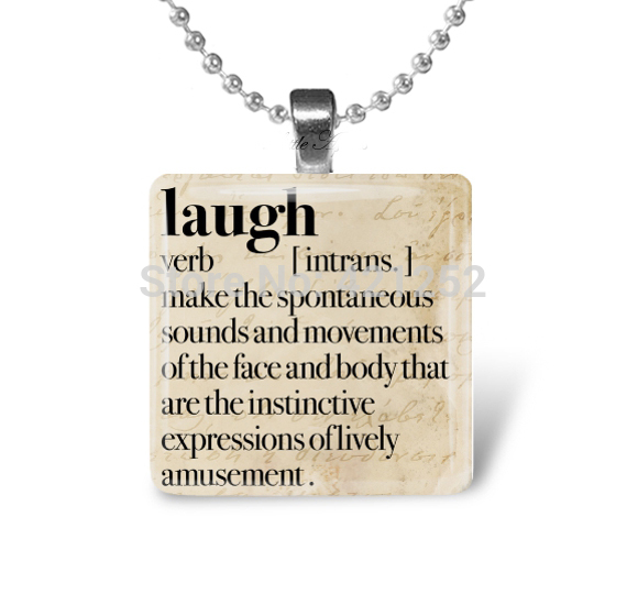 Laugh Dictionary Happy Meaningful 1 Inch Glass Necklace(China (Mainland))