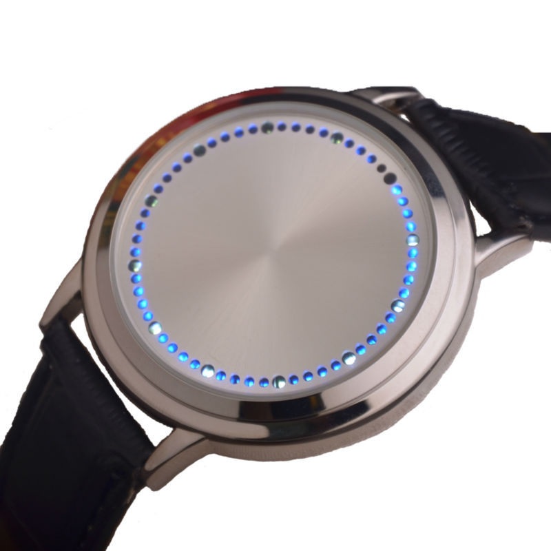 Гаджет  2015 Fashion Casual Men Blue LED Binary Touch Screen Watch Genuine Leather Wrist Watch For Men Relogio Masculino None Часы