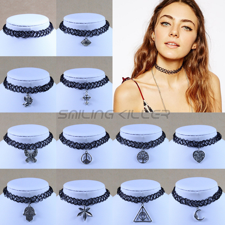 New Vintage Stretch Tattoo Choker Necklace Gothic Punk Grunge Henna Elastic with Pendant Necklaces(China (Mainland))