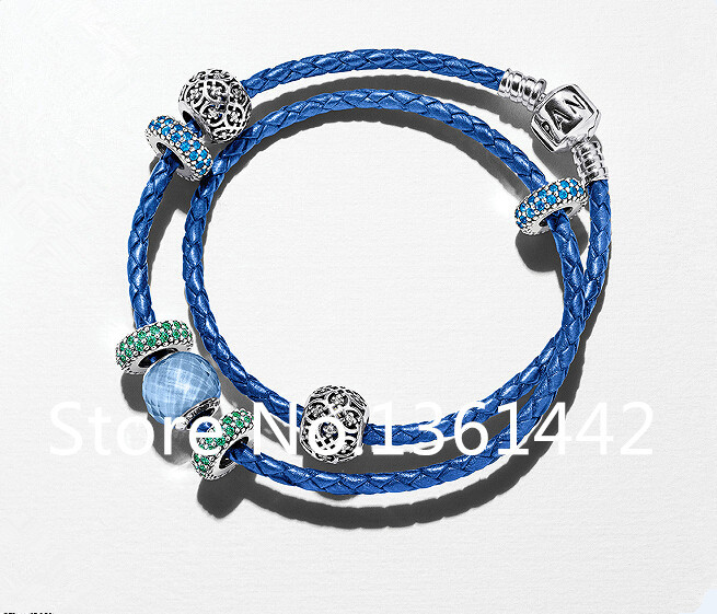925 sterling silver Fine jewelry summer style leather bracelet 2015 New bracelet charms bracelets for women brand bracelet FB051