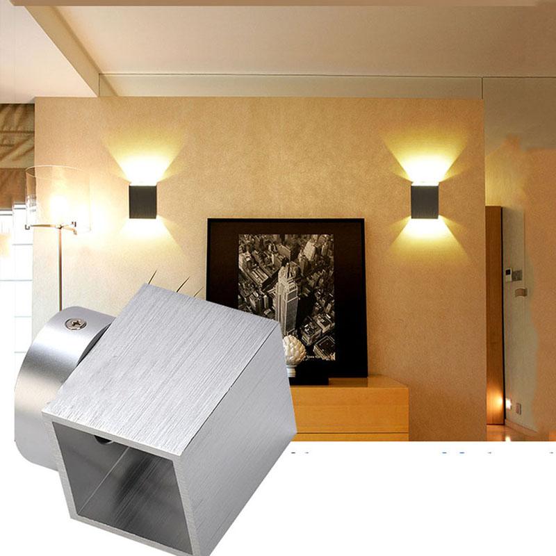 2pcs/lot 220V 1W Modern Brief square Aluminum led wall light lamp Bulb LED aisle lights Corner background lamp Free Shipping<br><br>Aliexpress