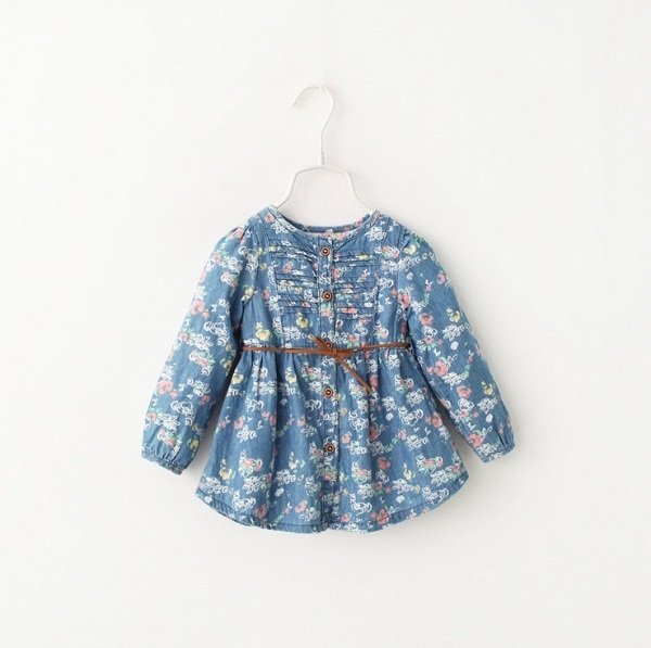 Hug Me Baby Girls Clothes Lace Tutu Spring Dresses Long Sleeve for Kids Clothing 2016 New Party Flower Floral Denim Dress BB-136<br><br>Aliexpress