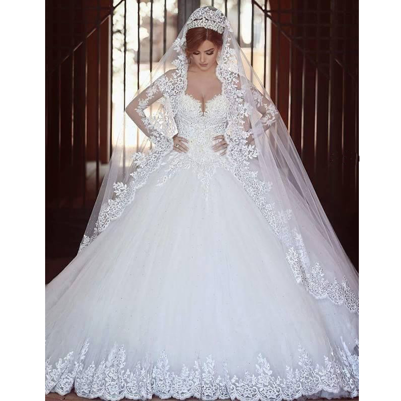 Ball Gown Wedding Dresses With Train : Gown cathedral train sweetheart appliques long sleeve lace wedding