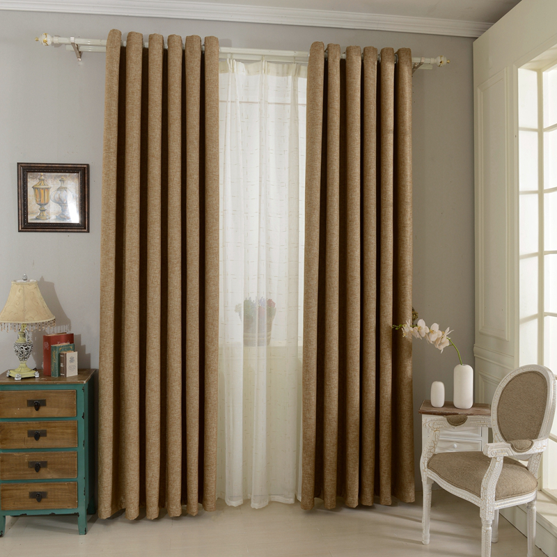 Plain dyed blackout curtains linen fabrics solid color brown green red for bedroom living full shade window curtains panel(China (Mainland))