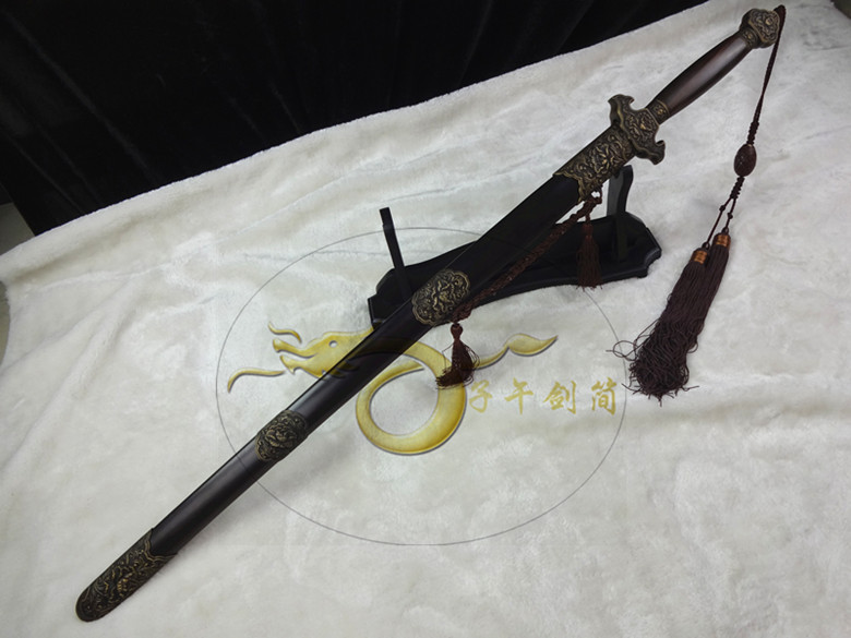 China sword pattern steel copper loaded peony sword ebony hand forging gifts not edged sword scabbard(China (Mainland))