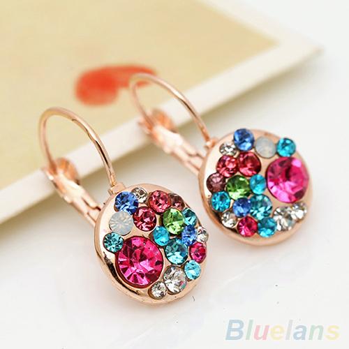 Womens Fashion Glass Coloured Glaze Rhinestone Ear Clip Crystal Earrings <br><br>Aliexpress